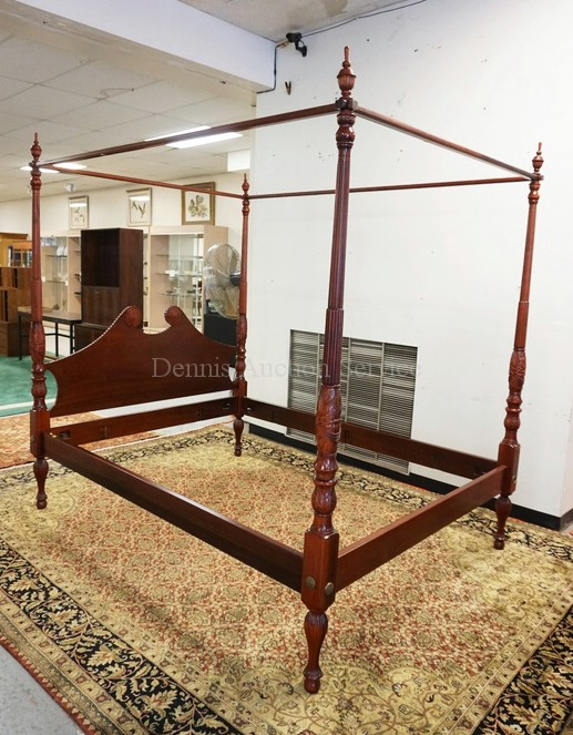 Carved mahogany high poster bed with canopy frame top queen for High bed frame queen