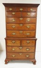 EARLY ANTIQUE WALNUT CHIPPENDALE CHEST ON CHEST WITH OGEE BRACKET FEET. 80 INCHES HIGH. 45 INCHES WIDE.