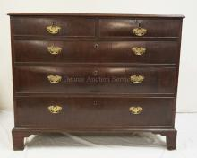 ANTIQUE CHEST OF DRAWERS. 2 OVER 3 WITH BRACKET FEET. 43 1/2 INCHES WIDE. 35 1/2 INCHES HIGH.