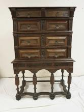 17TH CENTURY WALNUT & OAK CHEST ON FRAME WITH RAISED PANEL DRAWERS. 59 1/2 INCHES HIGH. 40 INCHES WIDE.