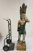 PAINTED AND CARVED WOOD CIGAR STORE INDIAN. 71 3/4 INCHES HIGH. FROM THE COLLECTION DISPLAYED AT THE *CHEROKEE TRADING POST* IN BUDD LAKE, NJ.