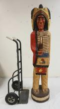 CARVED AND PAINTED WOODEN CIGAR STORE INDIAN MEASURING 71 1/2 INCHES TALL. FROM THE COLLECTION DISPLAYED AT THE *CHEROKEE TRADING POST* IN BUDD LAKE, NJ.