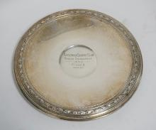 GORHAM STERLING SILVER FOOTED TAZZA MEASURING 11 1/8 INCHES IN DIA. ENGRAVED *MAPLEWOOD COUNTRY CLUB RINGER TOURNAMENT 1930. CLASS B WON BY*. 15.1 TROY OZ.