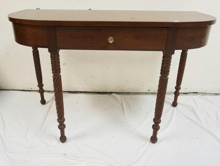 Antique mahogany one drawer demi lune console table with spi for Demilune console table with drawers