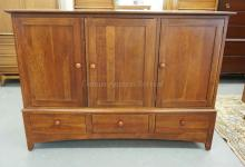 ETHAN ALLEN CHERRY ENTERTAINMENT CABINET MEASURING 62 1/2 INCHES WIDE AND 45 INCHES HIGH.