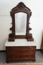 VICTORIAN WALNUT MARBLE TOP CHEST WITH MIRROR. LEAF CARVED HANDLES. 91 INCHES HIGH. 48 INCHES WIDE.