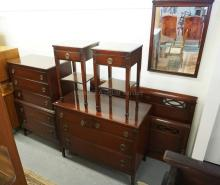 6 PIECE MAHOGANY BEDROOM SET. HIGH CHEST, LOW CHEST, MIRROR, 2 NIGHTSTANDS, AND BED.