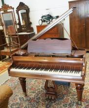 CHICKERING QUARTER GRAND SCALE #121 PIANO. HAS A MODERN CASETTE PLAYER FEATURE ATTATCHED TO IT, CAN BE REMOVED.