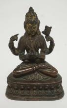 ASIAN BRONZE SEATED DIETY. 5 INCHES HIGH.