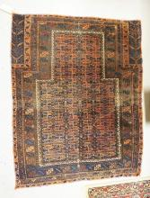 ANTIQUE ORIENTAL THROW RUG MEASURING 3 FT 4 INCHES X 4 FT 2 INCHES.