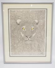 PRINT OF A LION BY *H. WEINSTEIN*. PENCIL SIGNED AND DATED 1/4/73. 22 1/4 X 27 3/4 INCH FRAME.