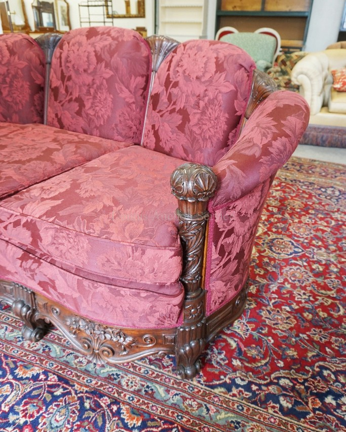 Heavily carved sofa with deep red floral upholstery 80 inch for 80s floral couch