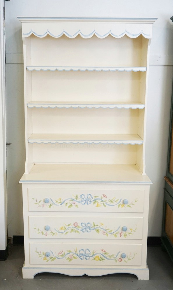 3 Drawer Chest With Bookcase Top Painted In White With Blue Trim