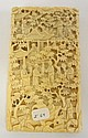 CHINESE CARVED IVORY CARD CASE; CARVED W/PEOPLE IN