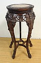 CARVED ORIENTAL STAND W/INSET BROWN MARBLE TOP; 32