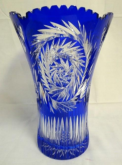 COBALT BLUE CUT TO CLEAR LARGE VASE; 12 IN H, 8 IN