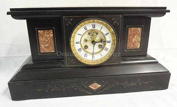 SLATE VICTORIAN MANTLE CLOCK W/RED MARBLE INSETS &
