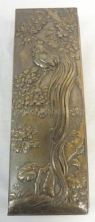 WOOD LINED METAL BOX W/EMBOSSED BIRD OF PARDISE IN