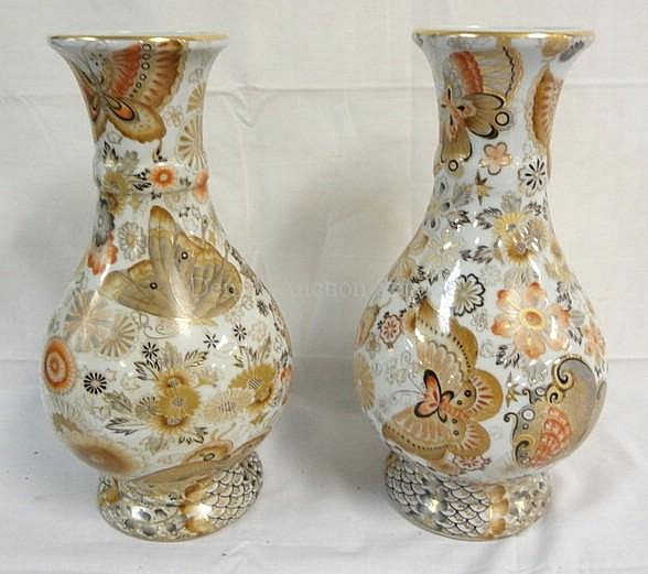 PR OF CHARACTER SIGNED HAND PAINTED VASES