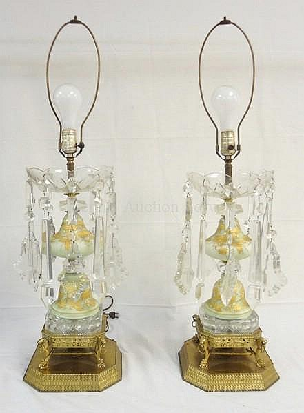 PR OF PASTEL GREEN SATIN GLASS TABLE LAMPS W/HAND