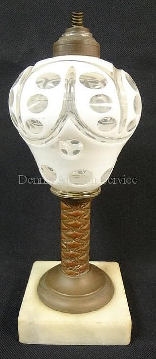 WHITE CUT TO CLEAR OIL LAMP W/BRASS STEM & MARBLE