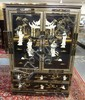 PAINT DECORATED 2 DRW, 2 DR ORIENTAL WARDROBE W/RELIEF FIGURES