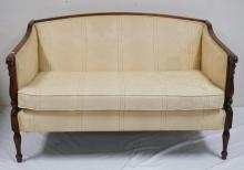SHERATON STYLE SETTEE WITH FLUTED COLUMNS AND LEGS. 53 INCHES WIDE. 33 INCHES HIGH.