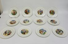 SET OF 12 SARREGUEMINES PLATES DEPICTING THE LIFE OF JEANNE D ARC. 7 3/4 IN