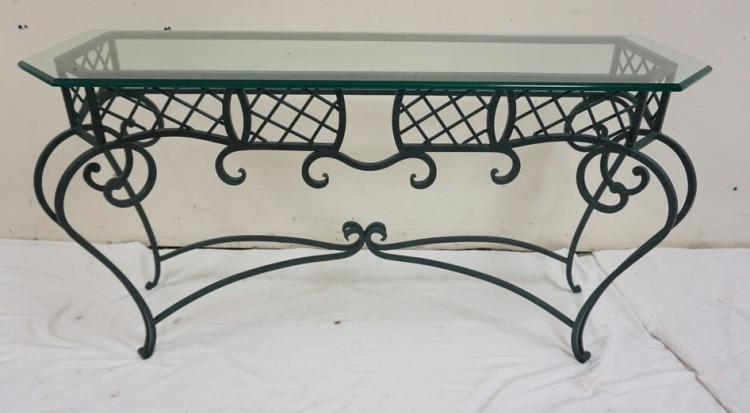 Wrought iron console table with a beveled glass top 52 x 16 for 52 glass table top