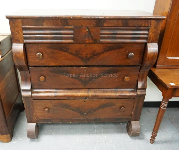 EMPIRE 3 OVER 3 DRAWER CHEST WITH SCROLL FEET. 45 INCHES WID