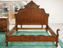 KING SIZE CARVED *COEUR DE FRANCE* BED BY CENTURY. 87 INCHES WIDE. 85 1/2 INCHES LONG. 77 INCHES HIGH.