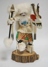 NATIVE AMERICAN INDIAN KACHINA DOLL TITLED *BUFFALO WARRIOR* SIGNED ?. BRUCE. 12 INCHES HIGH.