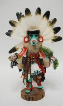 NATIVE AMERICAN INDIAN KACHINA DOLL TITLED *MORNING KACHINA* ARTIST SIGNED. 15 INCHES HIGH.