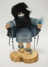 NATIVE AMERICAN INDIAN KACHINA DOLL. ARTIST SIGNED. 12 3/4 INCHES HIGH.