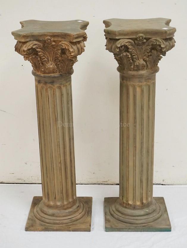 Decorative Pair Of Corinithian Column Pedestals 35 1 4 Inch