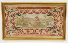 FRAMED ANTIQUE NEEDLEWORK OF LAMBS WITH A SHEEP DRESSED AND A SHEPHERD WHILE THE SHEPHERD SLEEPS ON THE HILL. 45 1/2 X 27 1/2 INCH FRAME.