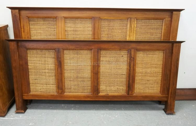 Ethan allen king size bed with woven panels headboard measu for Ethan allen king size beds