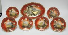 ELITE LIMOGES 7 PC SET W/ WILDLIFE: 18 1/4 IN OVAL PLATTER AND SIX 9 IN PLATES.