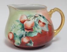 GUERIN LIMOGES CIDER PITCHER W/FRUIT. ARTIST SIGNED B. DOLISTER. 6 1/2 IN H