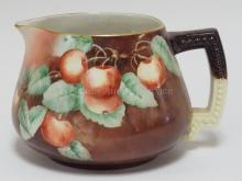 RIGNAUD LIMOGES CIDER PITCHER W/ FRUIT 6 1/4 IN H