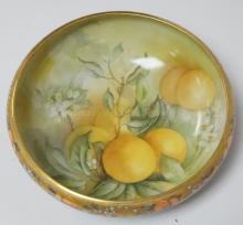 WILLETS BELLEEK HAND PAINTED BOWL W/ LEMONS. 9 1/4 IN DIA