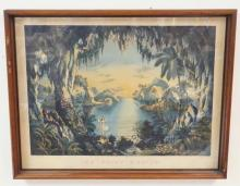 FRAMED CURRIER AND IVES PRINT *THE FAIRY GROTTO*. 1867. STRONG COLORS. 22 1/2 IN X 17 IN