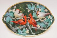 HAND PAINTED PORCELAIN OVAL TRAY W/ 2 MALE AND 2 FEMALE CARDINALS. 17 1/4 IN X 12 1/4 IN