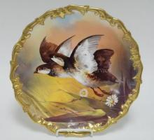 LIMOGES HAND PAINTED WALL PLATE W/ GAME BIRDS. ARTIST SIGNED VALENTIN. 12 1/2 IN