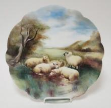 HAND PAINTED LIMOGES CHARGER W/ SHEEP IN A MEADOW. SCALLOPED RIM. 12 1/2 IN