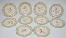 SET OF 10 ROYAL CHINA WORKS WORCESTER FLORAL PLATES FOR TIFFANY AND CO. 8 1/2 IN