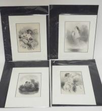 GROUP OF 4 MATTED, UNFRAMED FRENCH PRINTS BY CELESTIN NANTEUIL. LARGEST 7 1/4 IN X 9 1/2 IN
