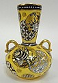HAND PAINTED VASE; YELLOW, BLACK & GOLD