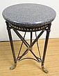 THEODORE ALEXANDER CAST IRON TABLE W/BRASS DOLPHIN