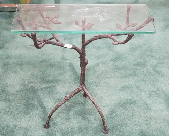 Wrought Iron Table With Glass Top Twig Form With An Owl Perched On